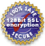 128-bit SSL Encrypting - 100% Safe and Secure